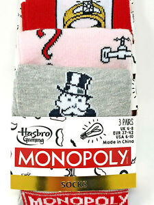 3-Paar-Monopoly-Damen-Socken-Struempfe-Hasbro-Classic-Lustig-Bunt-37-42-Primark