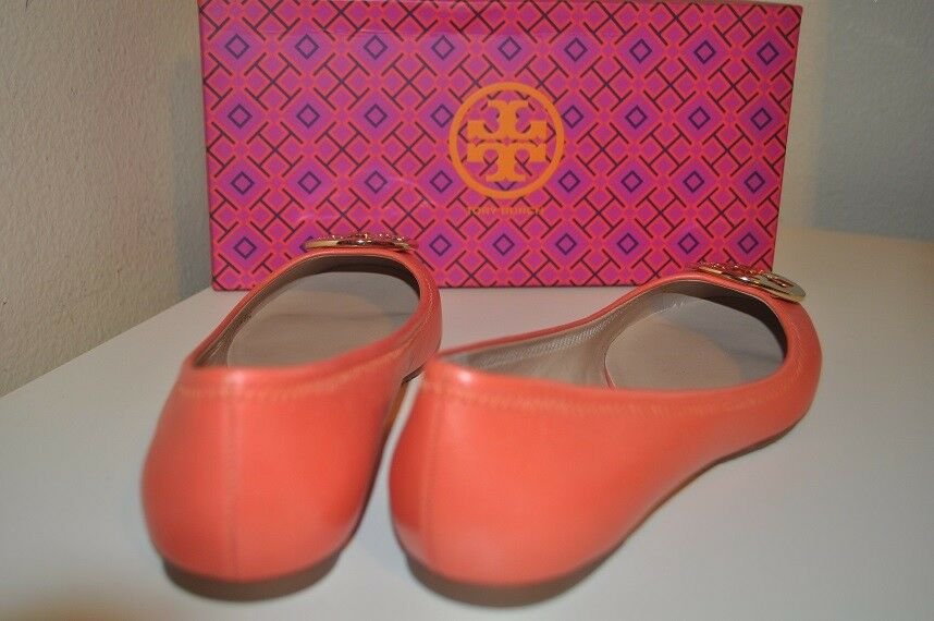 NIB Tory Burch Reva Poppy Coral Leather GOLD Logo Ballet Flat Flat Ballet Shoe 8.5 Wide 06264b