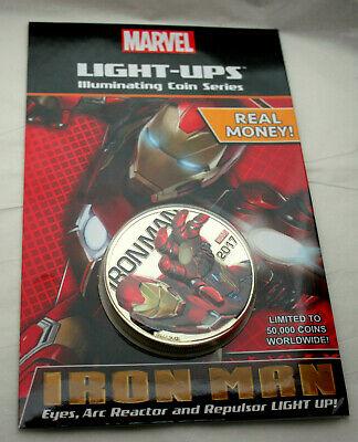 Marvel Avengers Iron Man Fuji Light Up 50 Cent Illuminating Coin New 2017 Sealed