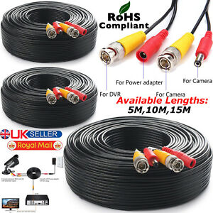 100M BNC DC Power Lead CCTV Security Camera DVR Video Camera Extension Cable 5M