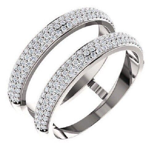 14K White gold Over 1 2 TCW Diamond Ring Guard Wrap Enhancer Engagement Bridal