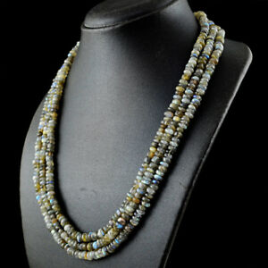 465-00-Cts-Natural-3-Strand-Blue-Flash-Labradorite-Round-Beads-Necklace-DG
