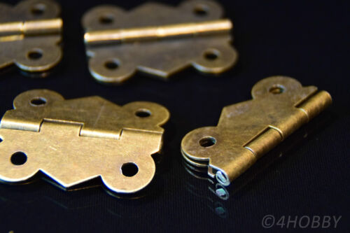 4 Mini-Scharniere 40mm Antik für Schmuckkästchen Schatulle Schmetterling-Form