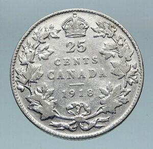 1918 CANADA UK King George V VINTAGE Antique RARE SILVER 25 CENTS Coin i85171