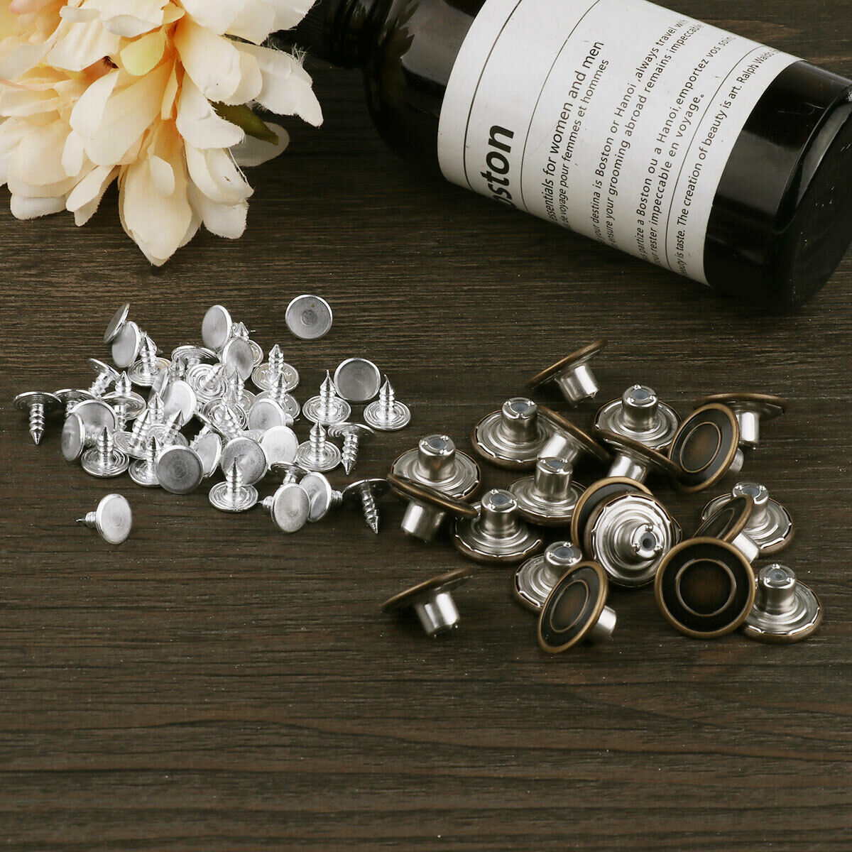 10Pcs_Clothes Retro Buttons Buckle Accessories with Nails Kits for Jeans Coat HQ