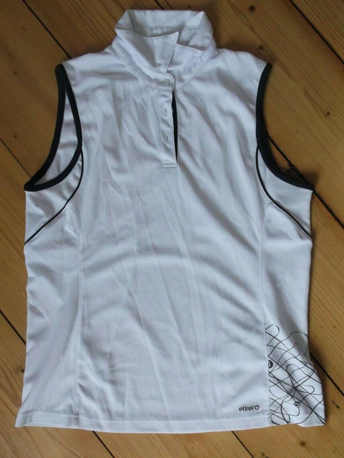 ETIREL Sports💐 Polo-Shirt 🐬 weiß m. schwarz ** Gr. 40 // Super 😊 Cool
