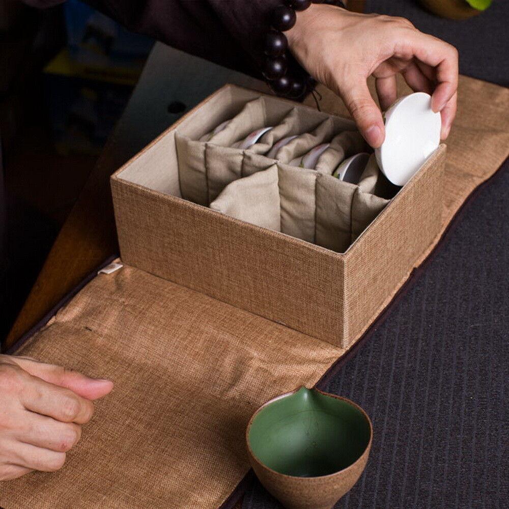 Linen Travel Storage Bag Soft Case for Kung Fu Tea Set 8 Compartments 26x18x10cm