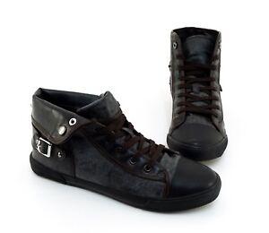 Sneaker-High-Top-Schnuerer-Kunstleder-grauschwarz-Gr-42