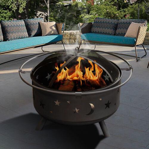 GARDEN FIRE PIT STARS MOONS PATIO HEATER BBQ GRILL LOG WOOD BURNER BOWL POKER UK