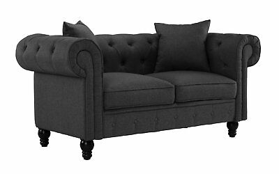 Sensational Classic Linen Sofa Fabric Scroll Arm Tufted Button Loveseat Dark Grey Pabps2019 Chair Design Images Pabps2019Com