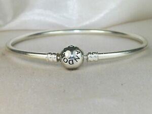 "Pandora Moments Bangle Sterling Silver .925 Charm Bracelet-7.5"" 590713"
