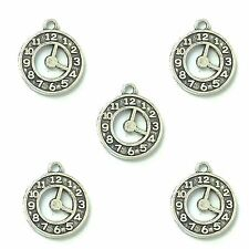 10 x Tibetan Silver Watch Clock Pendant Charms Alice In Wonderland