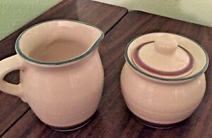 PFALTZGRAFF-JUNIPER-Creamer-amp-Covered-Sugar-Bowl-Off-White-Mauve-amp-Turquoise