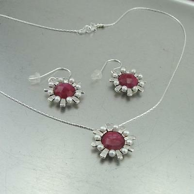 Lovely Hadar Designers New Handmade 925 Silver Pearl Ruby Pendant Earrings Set i Ne756 To Win A High Admiration And Is Widely Trusted At Home And Abroad. Fine Jewelry