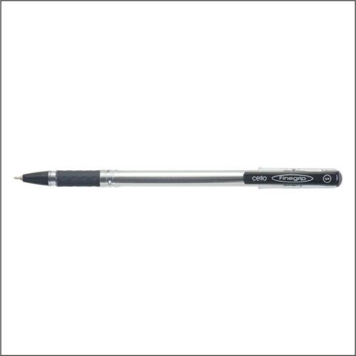 10 Pens New Smooth Writing Cello FINE GRIP BLACK Ball Point Pen 0.7 mm