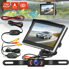 "Wireless Car Backup Camera Rear View HD Parking System Night Vision + 5"" Monitor"