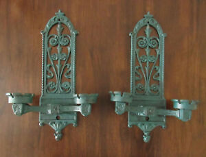 Set-of-2-Teal-Green-amp-Black-Cast-Iron-Candle-Wall-Sconces