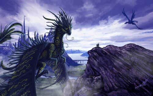 Magic Castle Mystical Creatures Wall Art Canvas Pictures Fantasy Dragon