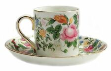 ANTIQUE FINE BONE CHINA CROWN STAFFORD SHIRE FLORAL TEA CUP SAUCER ENGLAND