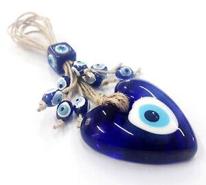 Nazar Boncuk Wandbehänge 18cm Glas Metall Ibrik Deko Evil Eye Blau Augen NZ21