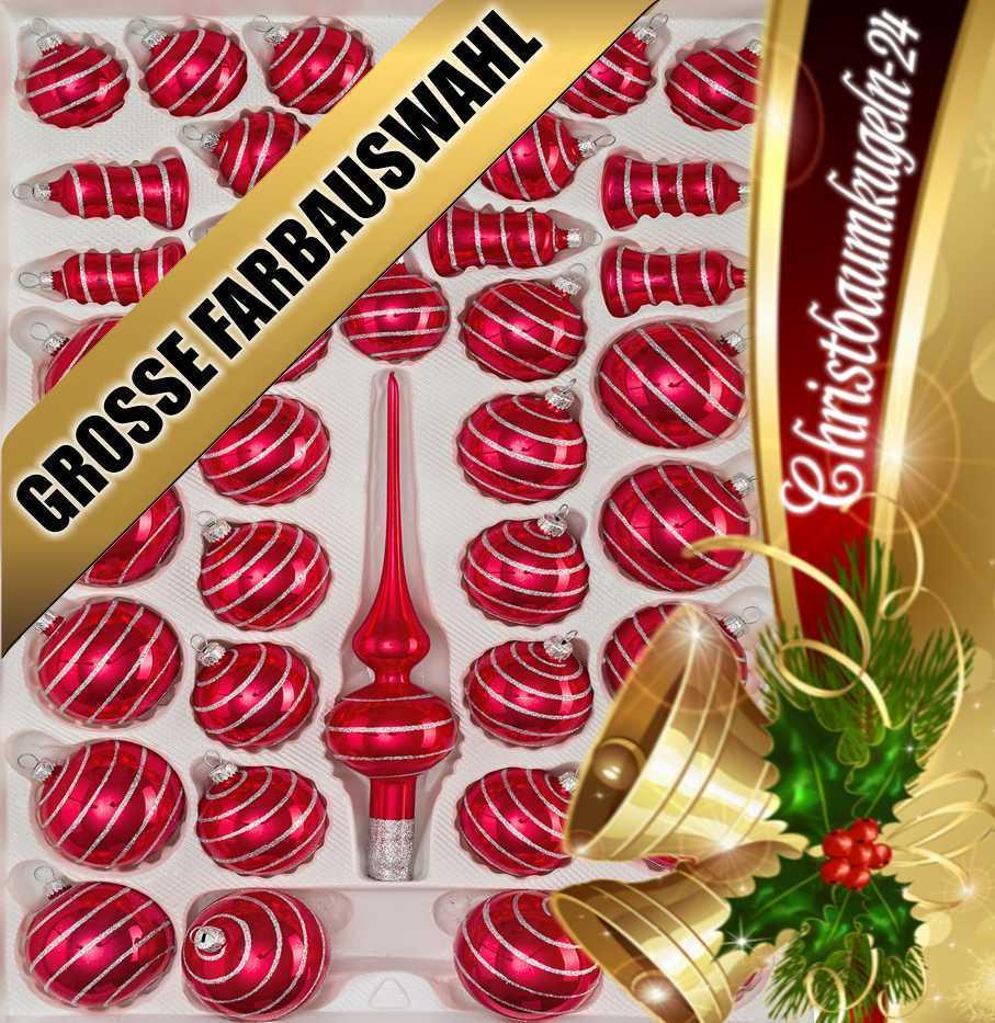 """39 tlg. Glas-Weihnachtskugeln Christbaumkugeln Set in """"Hochglanz red Candy"""""""