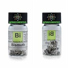Bismuth metal element 83 sample pieces 99,99% 10g in labeled glass vial