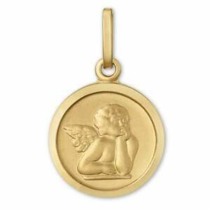 14K-Yellow-Gold-Guardian-Angel-Coin-Pendant-Protection-Cherub-Necklace