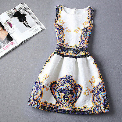 2016 Spring Summer New Womens Dress Vintage Digital Evening Party Print Dresses