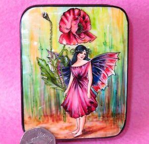 Coquelicot Fée Fleur Petit Russe Peint à la Main Laque Boîte Coquille Silantyeva i1P3KwQw-09170354-883361897