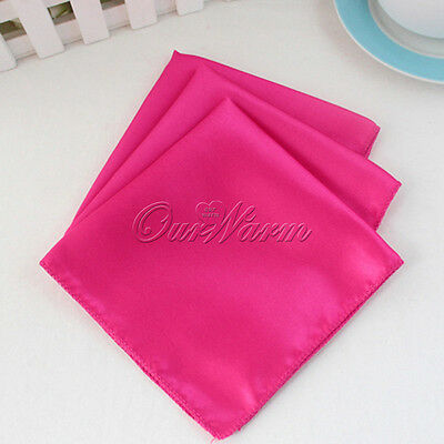 "100 Satin Table Cloth Napkin or Pocket Handkerchief 12"" Square Multi Purpose Hot"