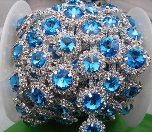 10X12mm crystal glass rhinestones close silver chain claw trim Applique 1Yard