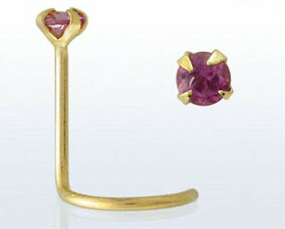 14kt Gold Small Fashionable 22g 0.6mm Nose Piercing Screw Stud Pink Tourmaline
