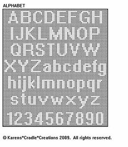 ALPHABET Upper & Lower Case/Numbers FILET CROCHET eBay