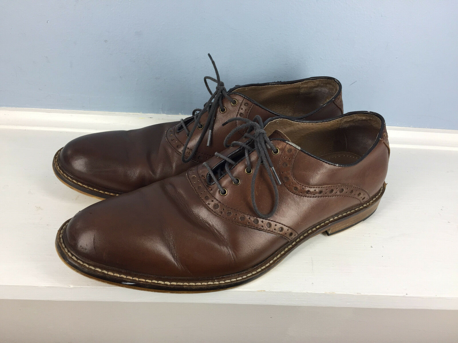 Aston Grey Collection Brown Leather Saddle Oxford 9.5 Tokyo Career Lace Up