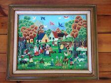 Vintage Colorful Mexican Village Celebration Dance Oil Painting Framed Folk Art