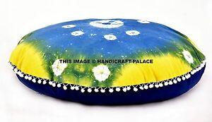 Indien Bleu Teinture Shibori Mandala Pom Dentelle Sol Oreillers Rond Ottomane