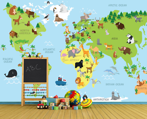 3D Cartoon Animals World Map Wall Paper Wall Print Decal Wall AJ WALLPAPER CA