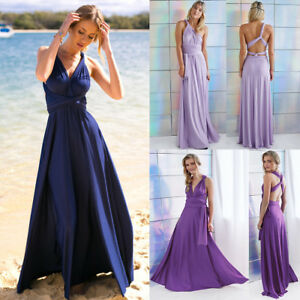 Women-Bridesmaid-Jersey-Infinity-Long-Dress-Multi-Way-Gown-Wedding-Evening-Party