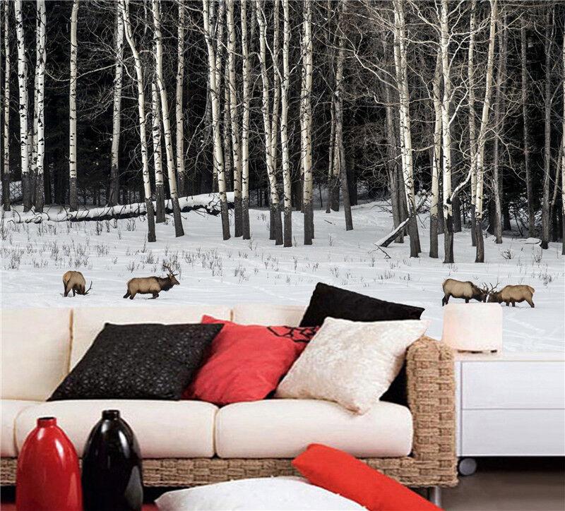 3D Wälder Schnee Tier 7935 Tapete Wandgemälde Tapeten Bild Familie DE Lemon