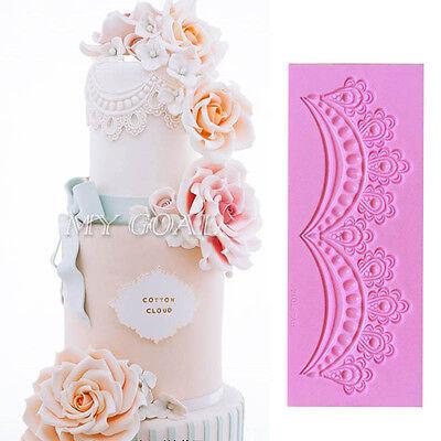 Swag Lace Embossed Silicone Fondant Mould Cake Decor Sugarcraft Icing Paste Mold