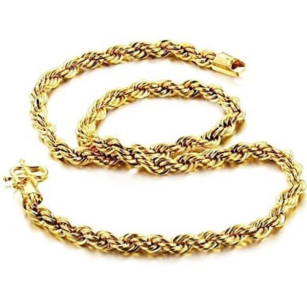 Cadena de 18k gold chapado color gold rope para men de moda estilo único gif