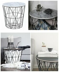Retro-Black-Metal-Wire-White-Marble-Top-Storage-Side-Table-Basket-Home-Furniture