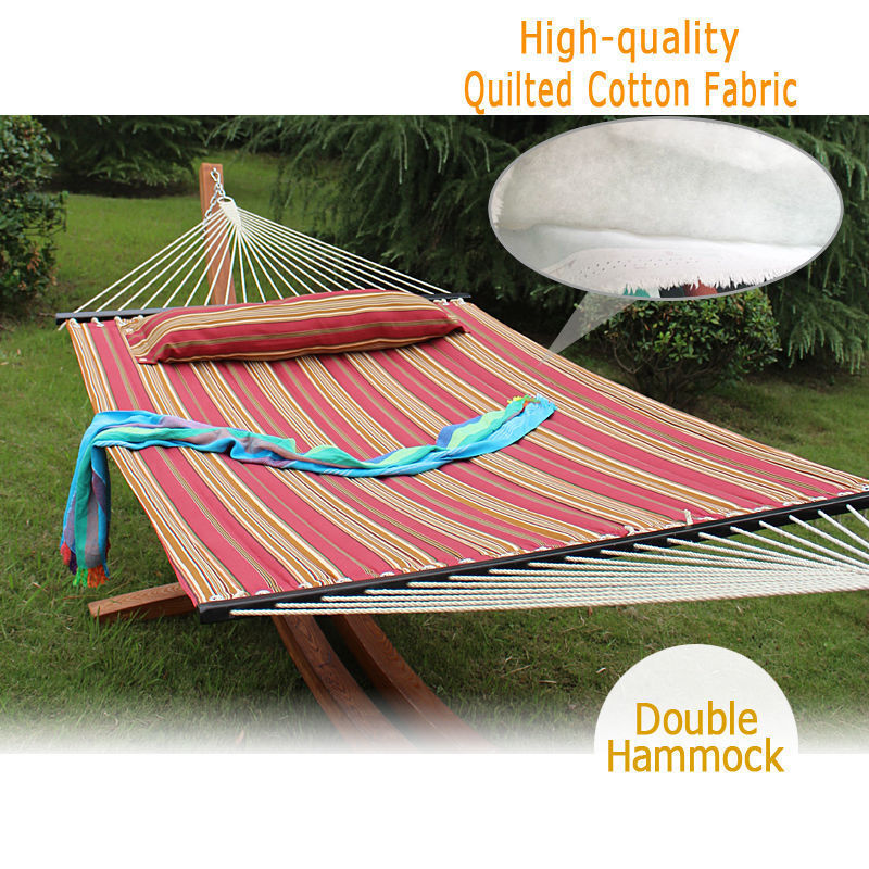 Heavy Duty Quilted Fabric Double Hammock With Pillow Spreade