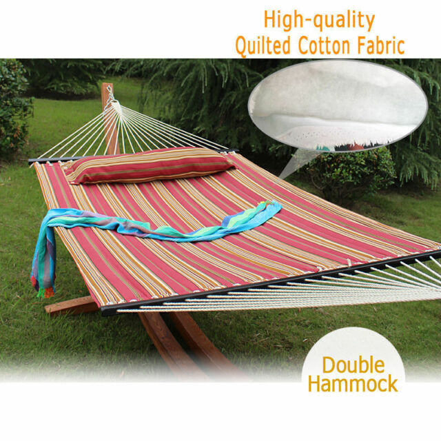 Heavy Duty Quilted Fabric Double Hammock With Pillow Spreader Bar 2 Person Swing