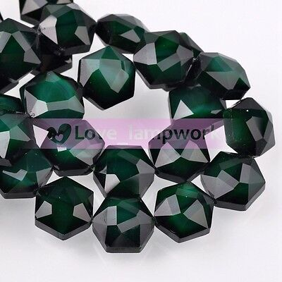 New 8pcs 14mm Hexagon Faceted Glass Spacer Beads Porcealin Colors Charms Bulk