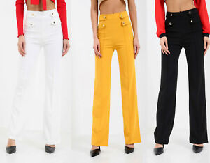 New-Women-Lady-Button-High-Waisted-Wide-Leg-Tailored-Button-Detail-Zip-Trousers