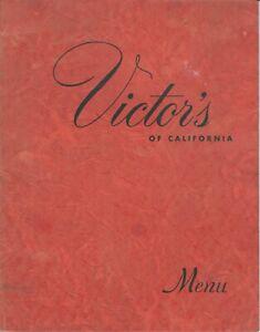 Vintage-Restaurant-Menu-VICTOR-039-S-OF-CALIFORNIA-Little-Italy-San-Francisco-CA