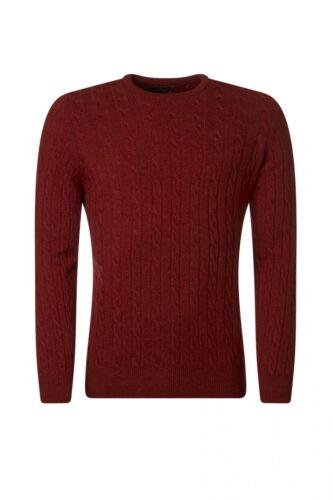 Da Uomo Grande /& Maglieria Britannico 100/% LANA D/'AGNELLO Cable /& Rib Crew maglione a girocollo