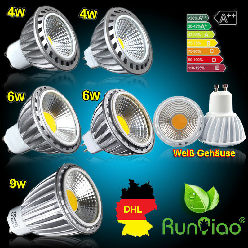 4 10 12x GU10 MR16 COB LICHT 4W 6W 8W LED LEUCHTMITTE STRAHLER DIMMBAR OPTIONAL