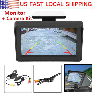"4.3/"" LCD TFT Monitor Car Rear View System Backup Reverse Camera Kit Night Vision"